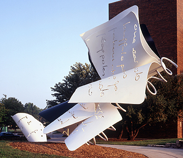 "Claes Oldenburg, Coosje van Bruggen""Torn Notebook"", 1992, fabricated 1996 painted aluminum, stainless steel, armatureUNL-Olga N. Sheldon Acquisition Trust and Friends of the Sheldon GallerySheldon Memorial Art GalleryU-4666.1-.3"