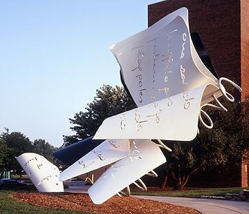 "Claes Oldenburg, Coosje van Bruggen""Torn Notebook"", 1992, fabricated 1996 painted aluminum, stainless steel, armatureUNL-Olga N. Sheldon Acquisition Trust and Friends of the Sheldon GallerySheldon Memorial Art GalleryU-4666.1-.3"