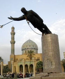 Toppling of Saddam Hussein statue in Firdos Square. Photo from wikipedia.com